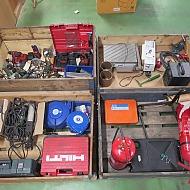 Reservdelsmaskiner, sladdvinda och brandsläckare m.m.