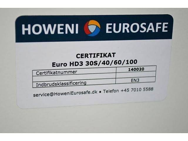 Pengeskab / kassaskåp med kodelås, ubrugt. Howeni Eurosafe